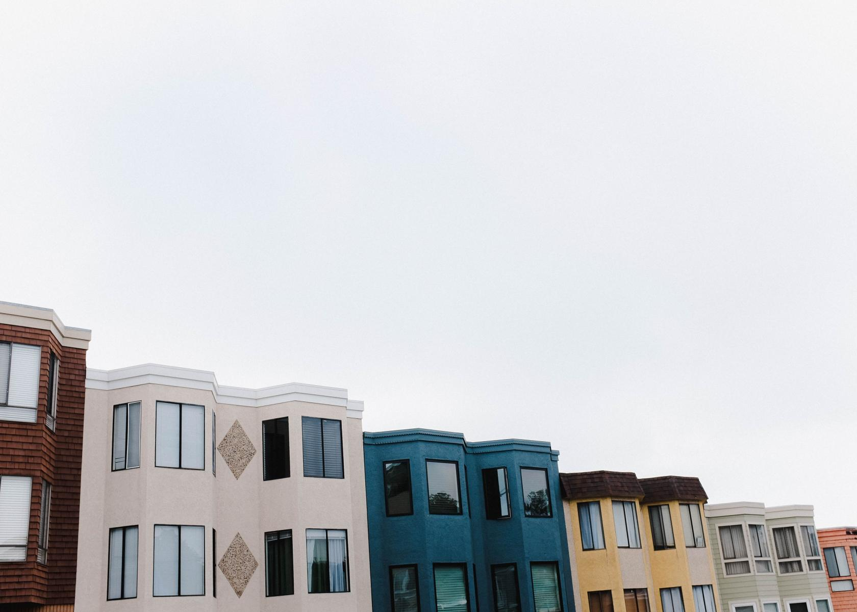 Different Colored Houses Lined Up